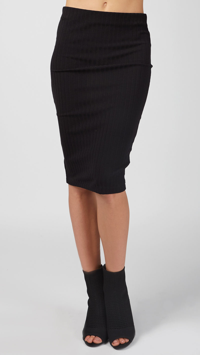 Vertical Wide Ribbed Pencil Skirt