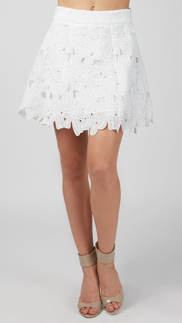 Lace Overlay A-Line Skirt