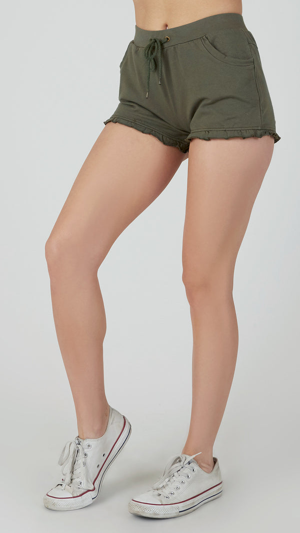 Ruffled Jersey Shorts