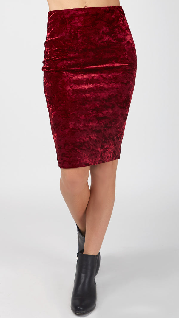 Crushed Velvet Pencil Skirt - Msky