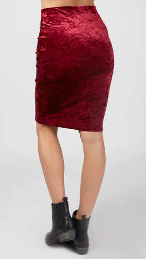 Crushed Velvet Pencil Skirt