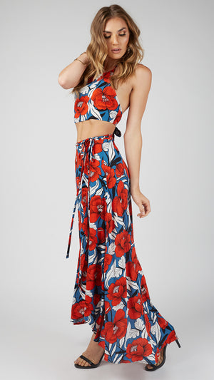 Red Hawaiian Wrap Skirt Set