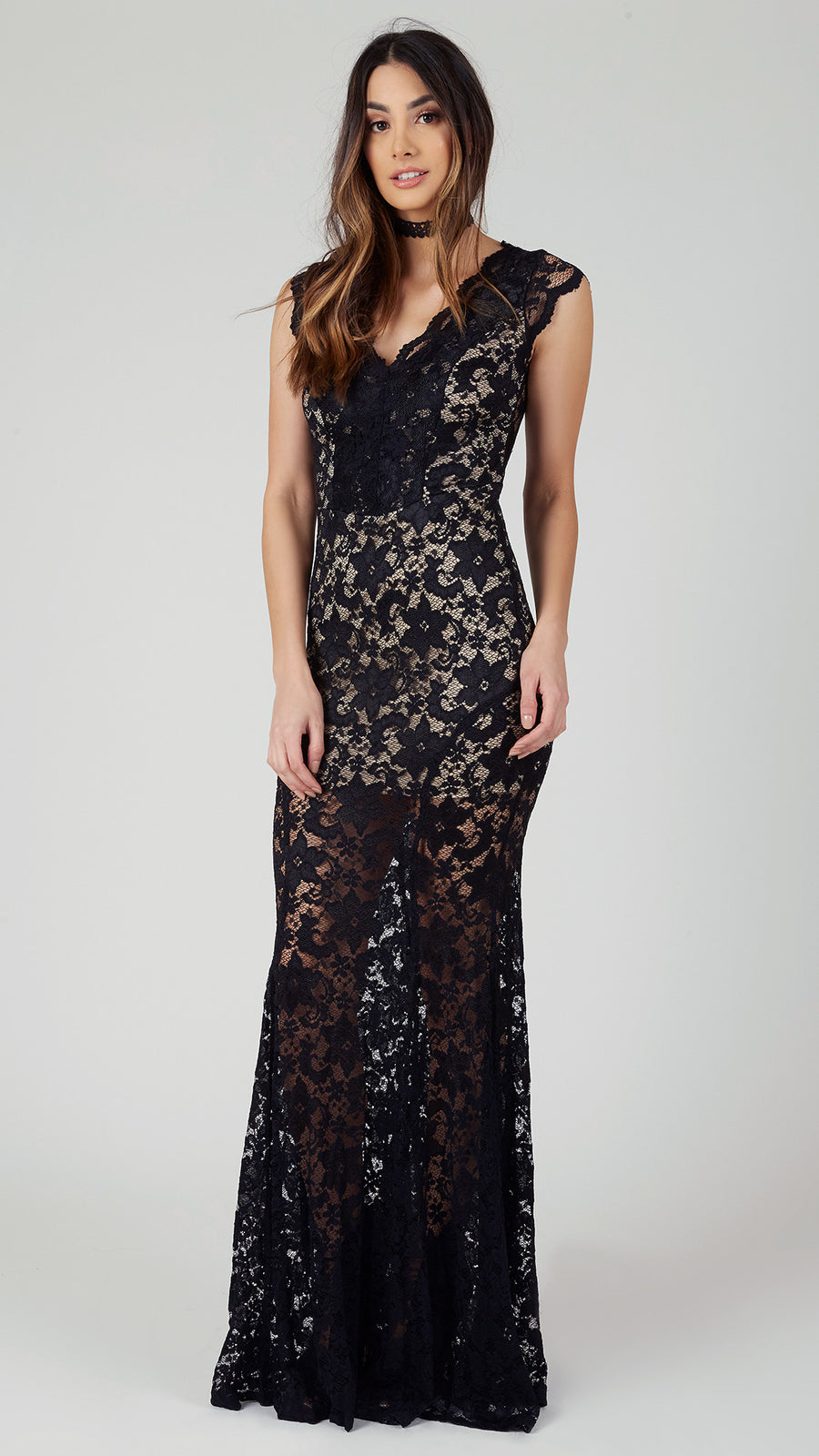 V Neck Flare Lace Maxi Dress