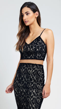 Velvet Lace Cami Crop Top