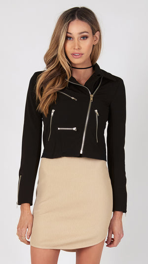 Jasmine Moto Zipper Detail Jacket