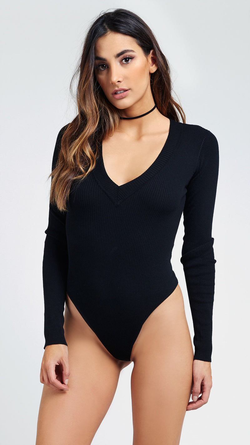 Knitted V Neck Long Sleeve Bodysuit