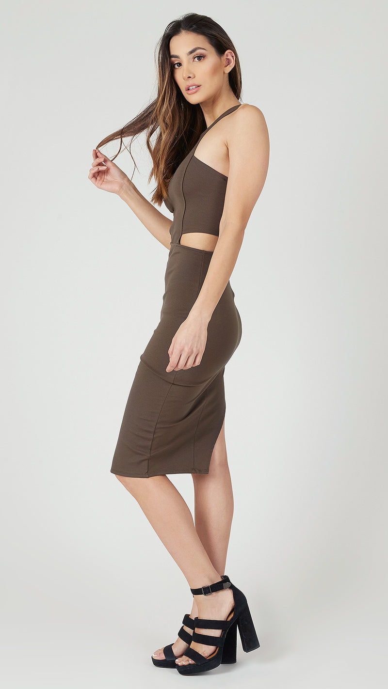 Cutout Asymmetrical Midi Bodycon Dress - Msky
