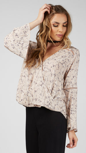 Floral Wrap Style Bell Sleeve Blouse