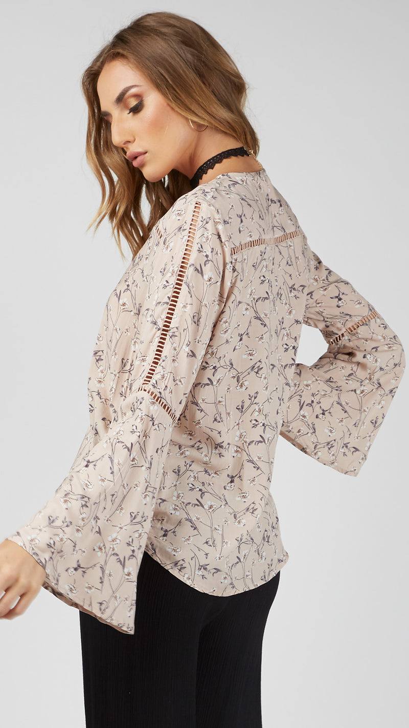 Floral Wrap Style Bell Sleeve Blouse - Msky