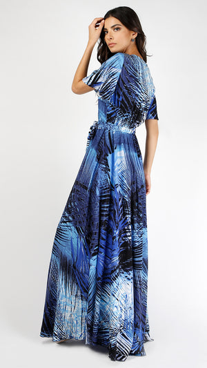 Tropical Leaf Bell Sleeve Maxi