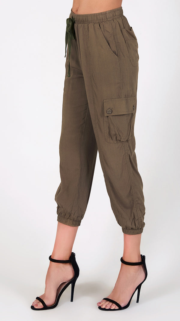 Six Pocket Cargo Capri Pants