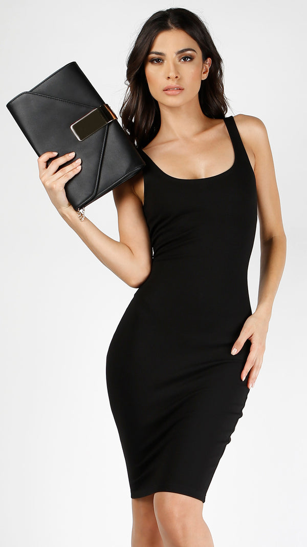 Metal Bar Simple Envelope Clutch - Black