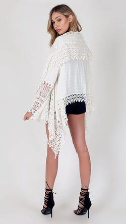 Crochet Lace Flowy Jacket - Msky