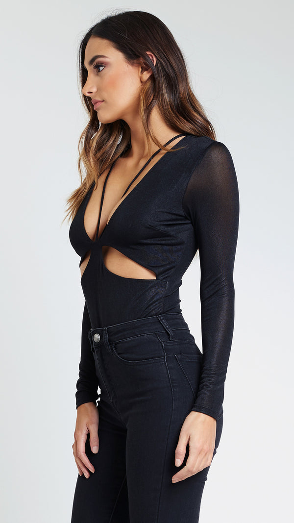 Star Cutout Long Sleeve Bodysuit