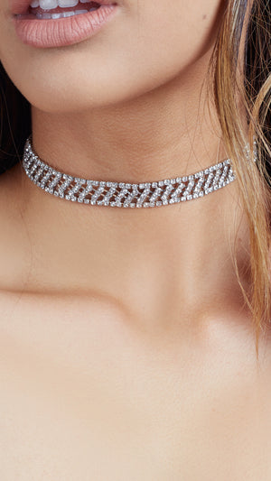 Detailed Rhinestone Choker