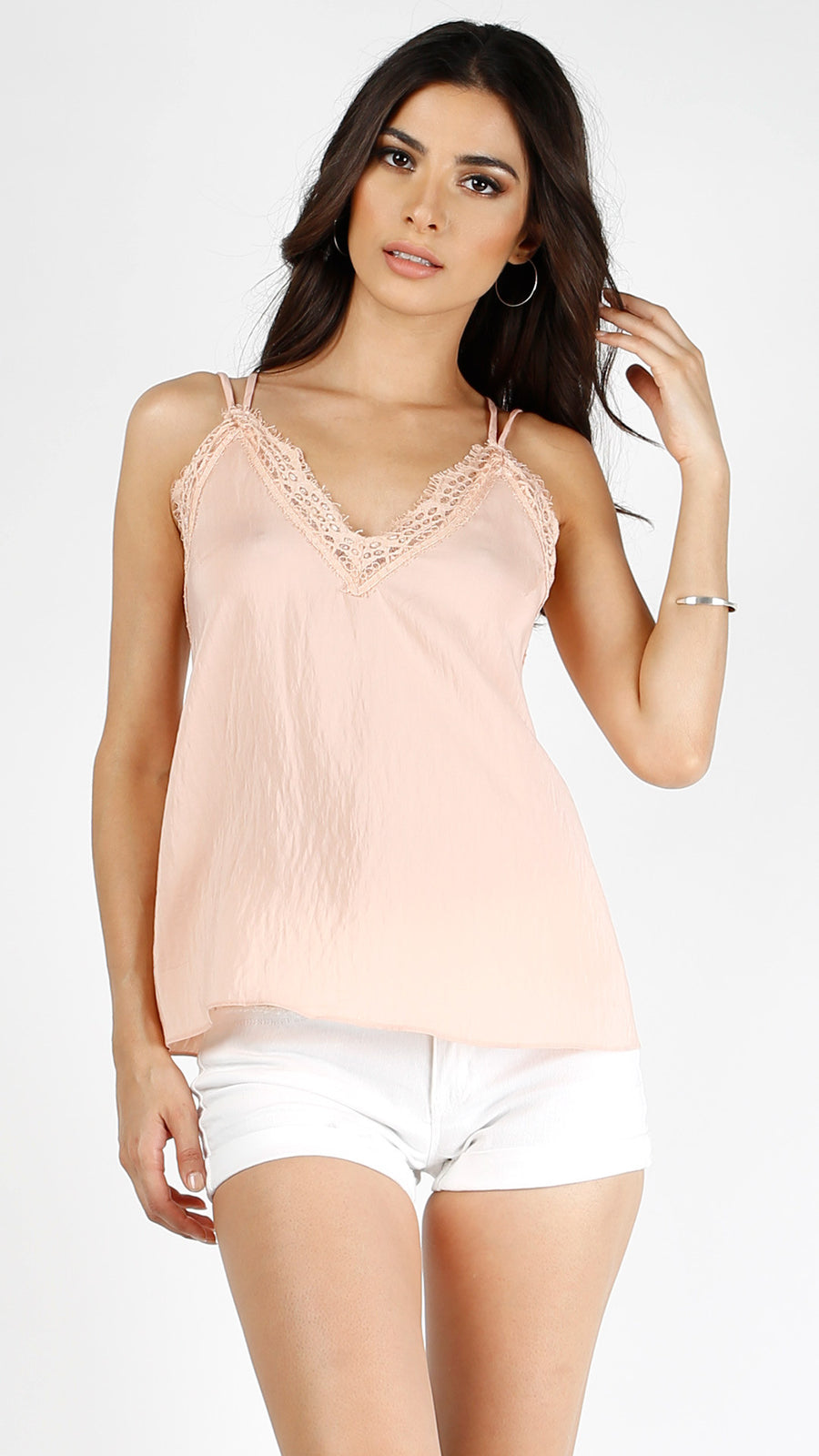 Strappy Woven Lace Trimmed Tank