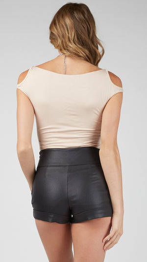 Shirring Front Cut Shoulder Top
