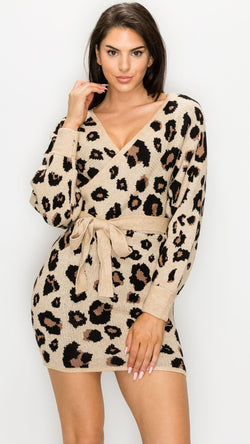 Leopard Knit Sweater Dress