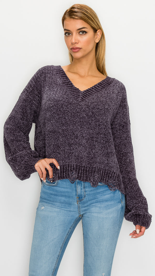 Sam V-Neck Distressed Sweater