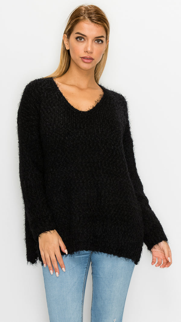 Cassie Fuzzy Long Sleeve Sweater