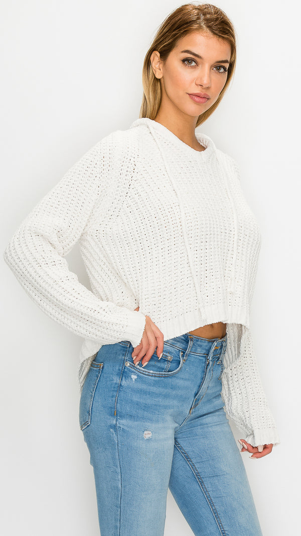 Knitted Hoodie Cropped Sweater