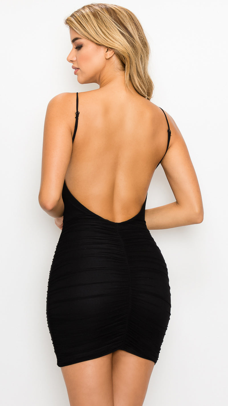 Sheer Ruched Low Back Dress