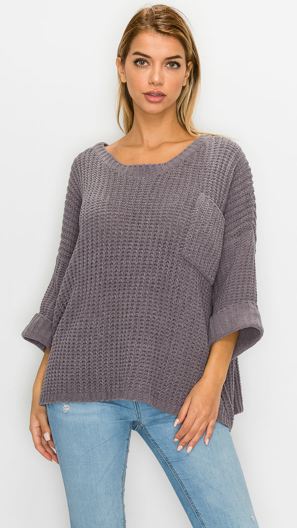 Pocket Detail Dolman Sleeve Sweater
