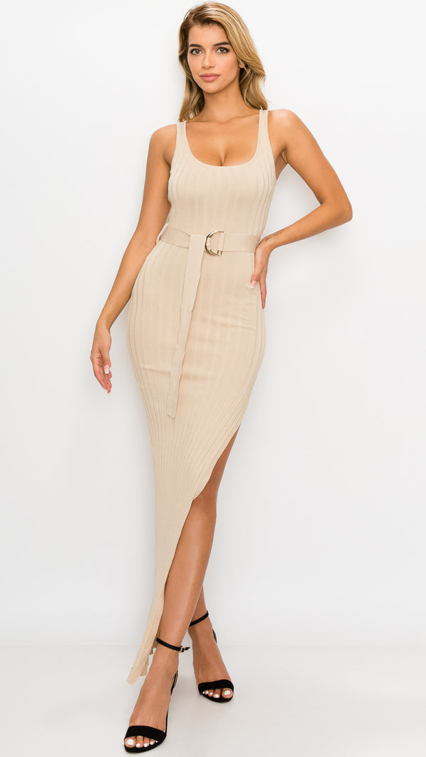 Ivana Sexy Slit Ribbed Dress