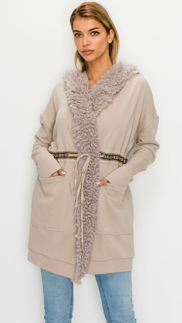 Faux-Fur-Trim Wrap Parka