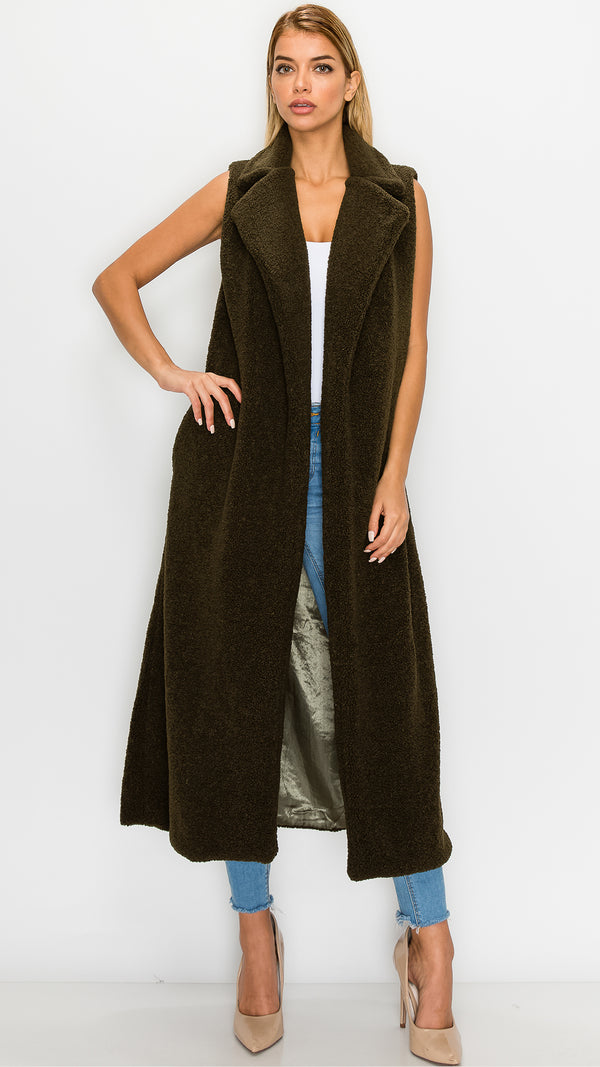 Fuzzy Long Sleeveless Vest
