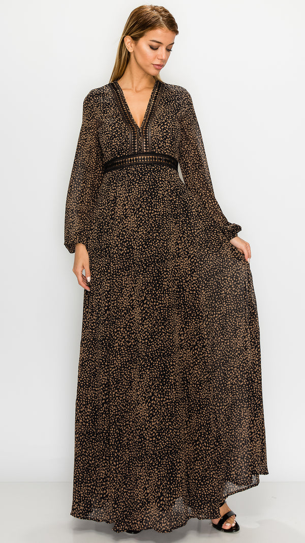 Midnight Cheetah Print Maxi Dress
