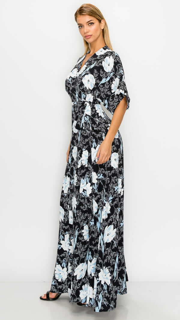 Nancy Floral Wrap Maxi Dress