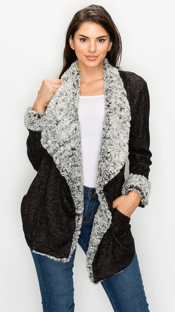 Soft Fur Trim Cardigan