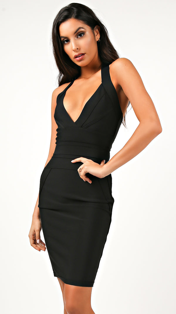 Luna Deep V Halter Bandage Dress