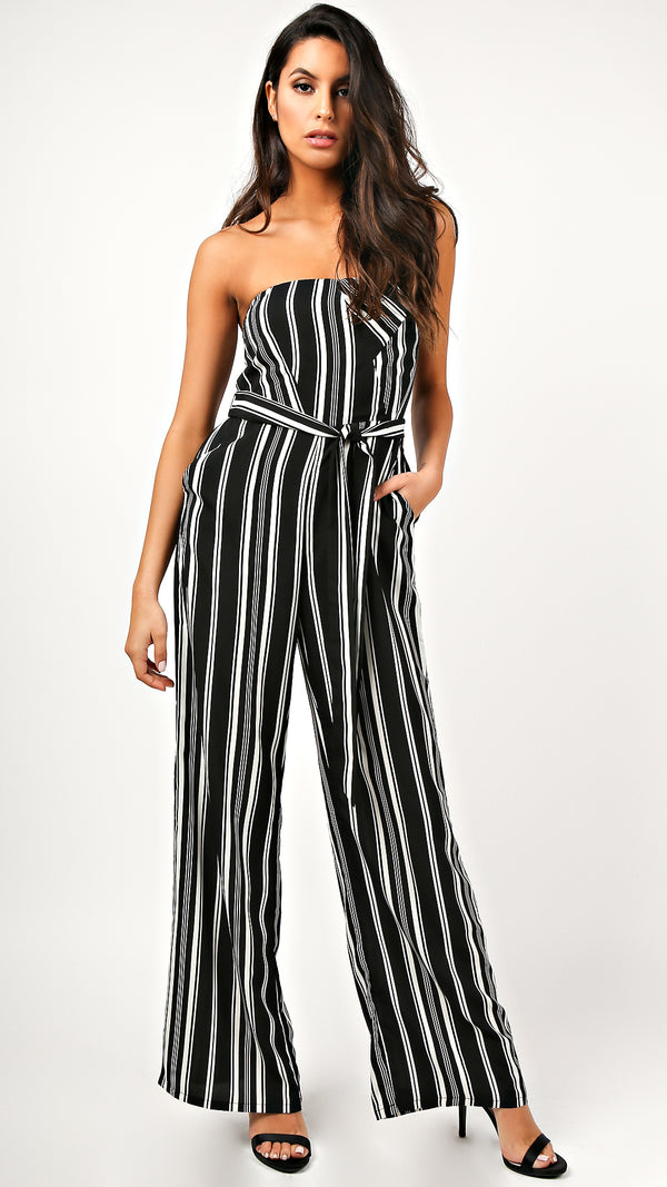 Bella Striped Strapless Jumpsuit - Msky