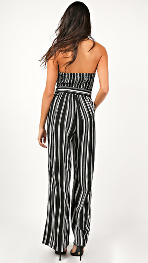 Bella Striped Strapless Jumpsuit