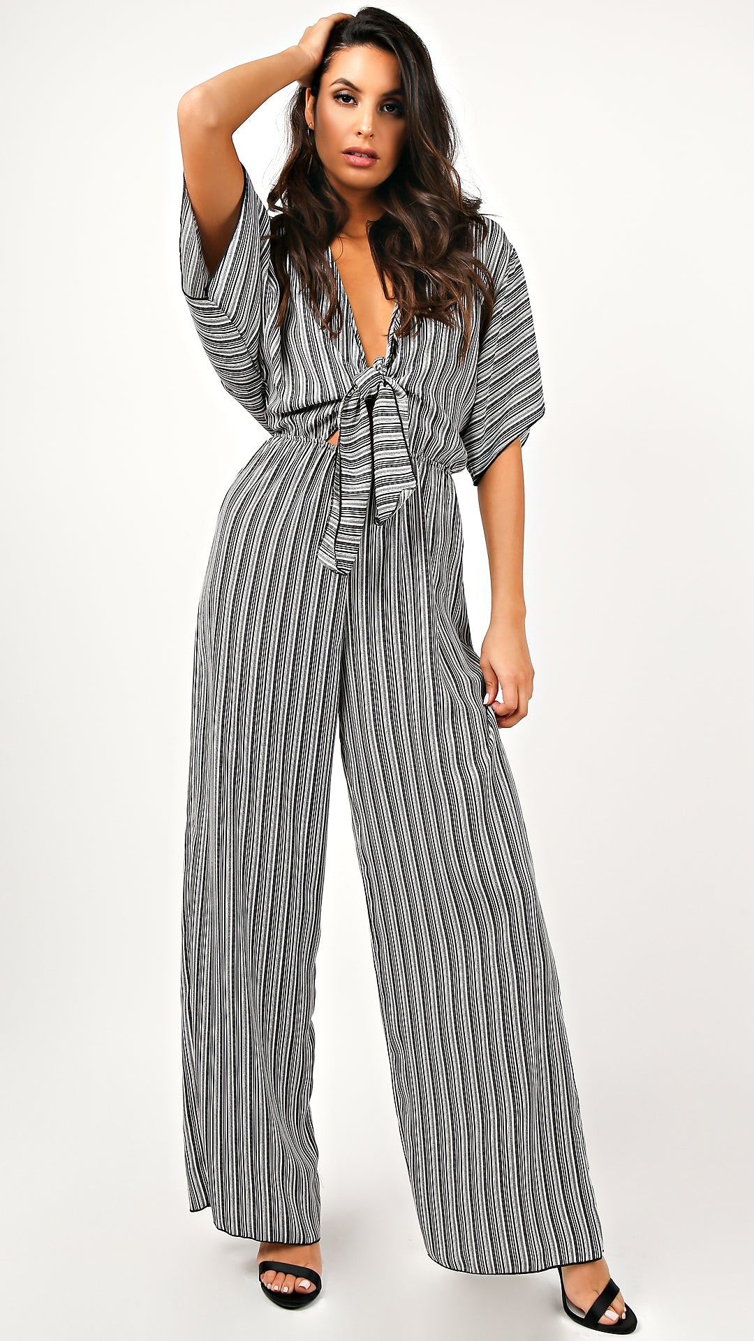 9acf1828f9b9 Rebe Striped Tie Front Jumpsuit