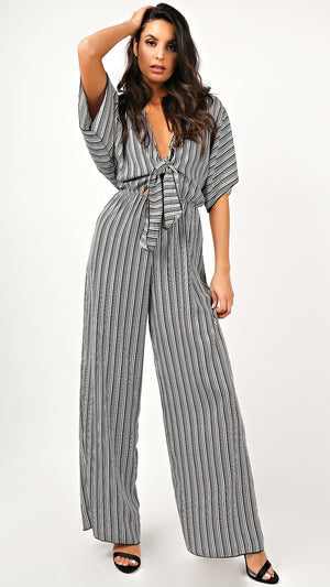 Rebe Striped Tie Front Jumpsuit