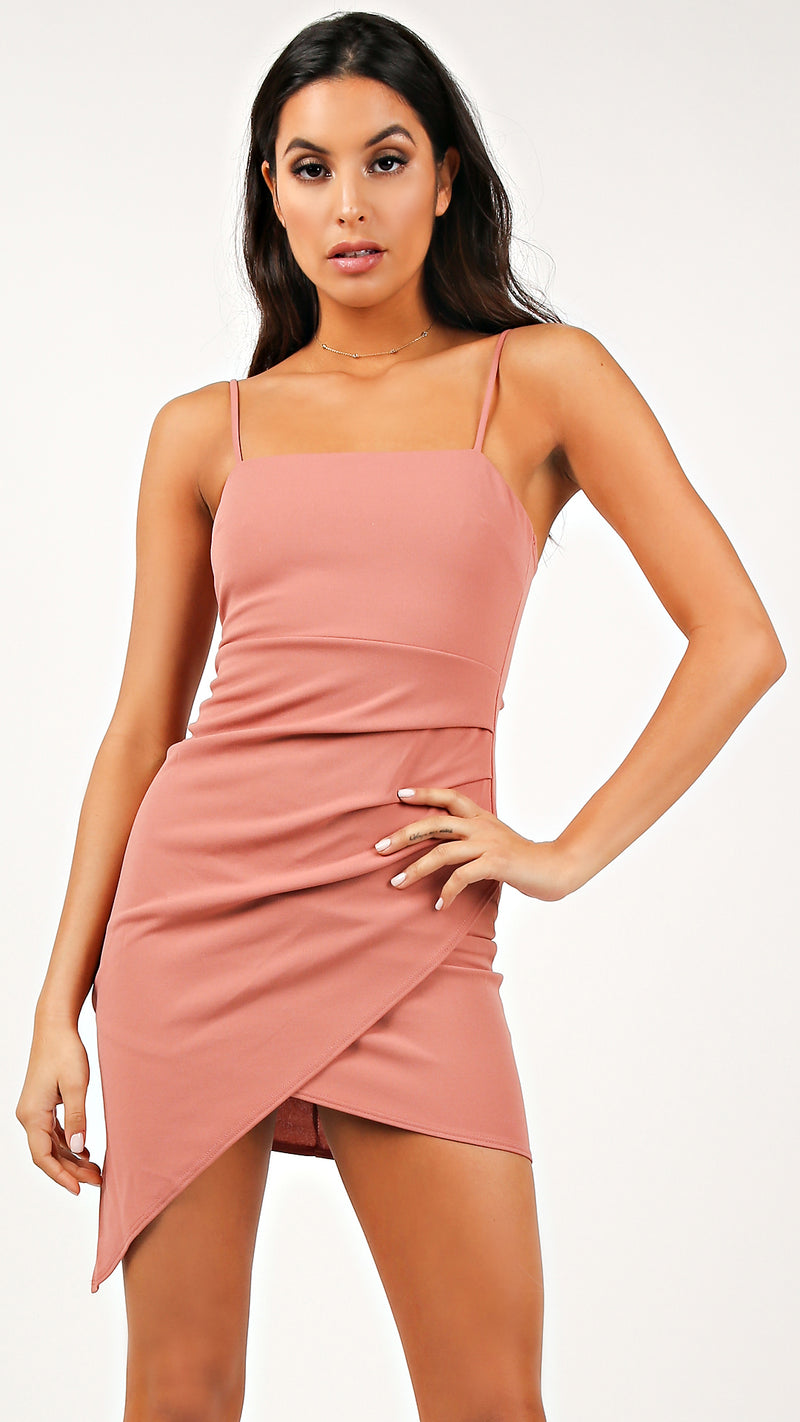 Straight Cut Shirring Cami Dress