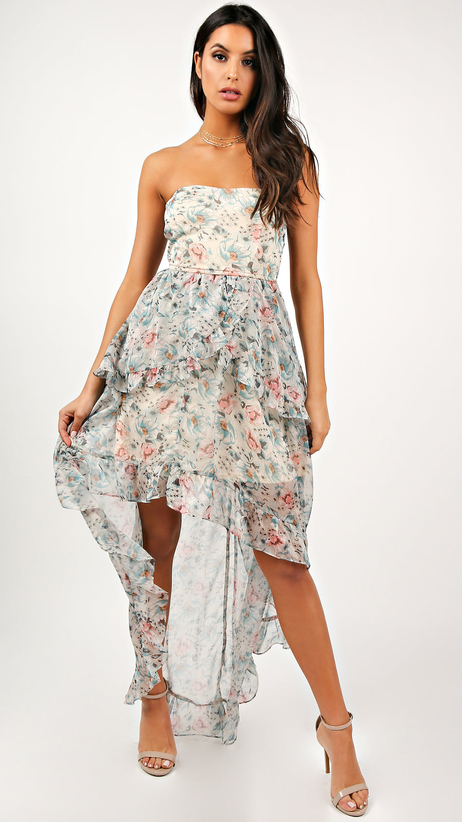 Skye Floral High Low Ruffle Dress