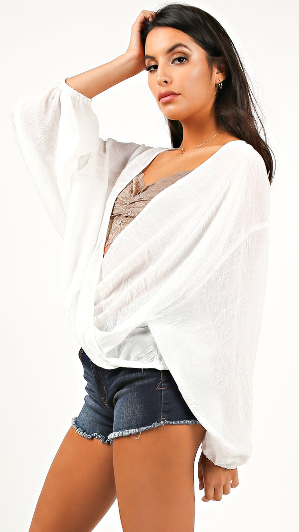 Breezy Long Sleeve Wrap Top - Msky