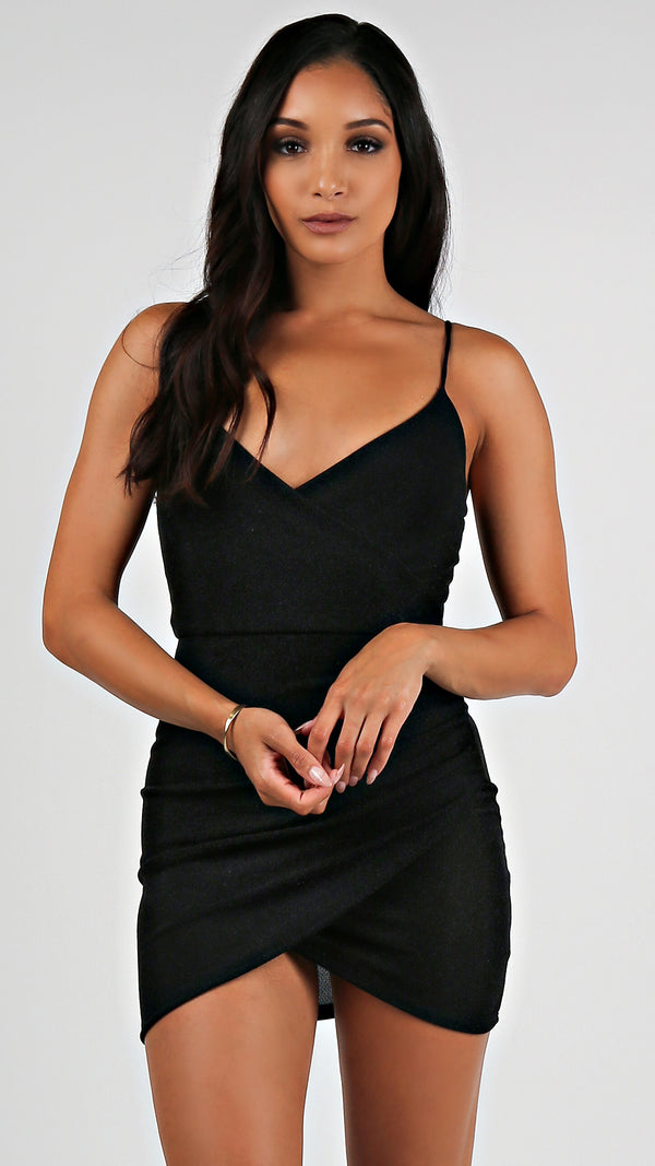 Glitter Mini Black Dress...