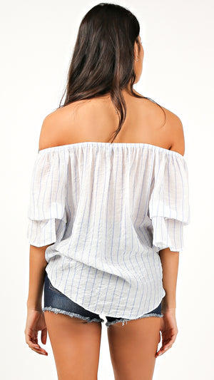 Striped Off Shoulder Tie Front Top