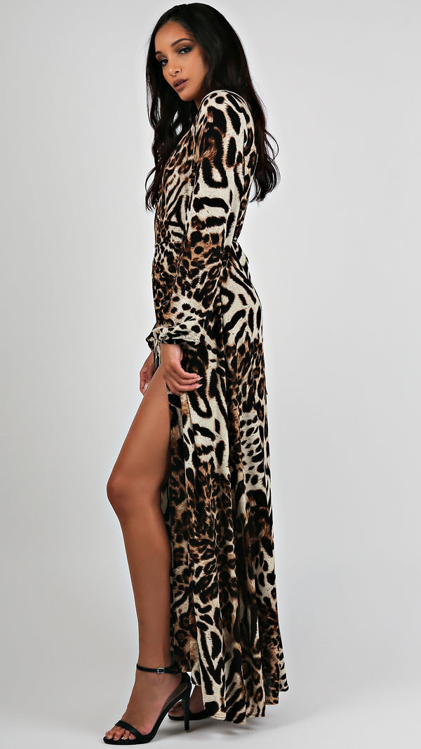 Long Sleeve Leopard Maxi...