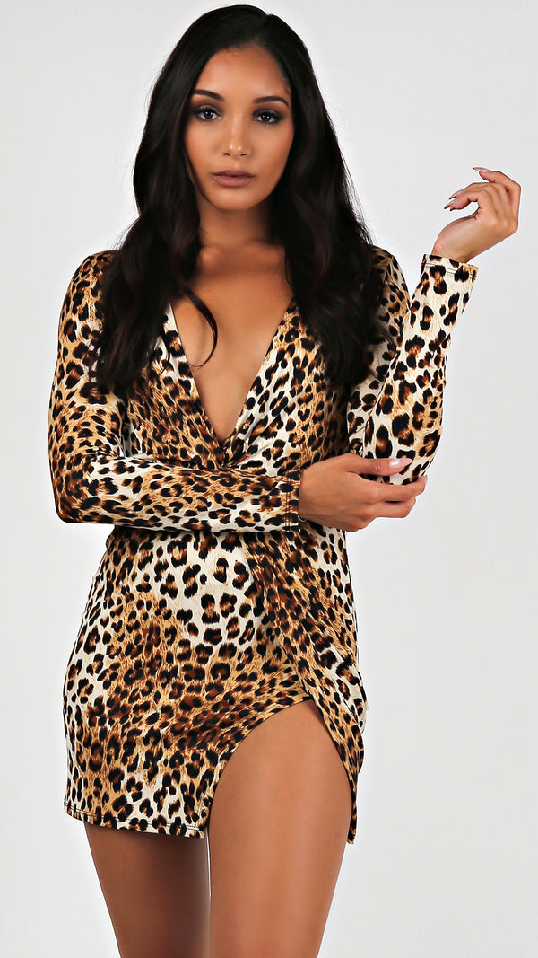 Deep V-Neck Leopard Mini...