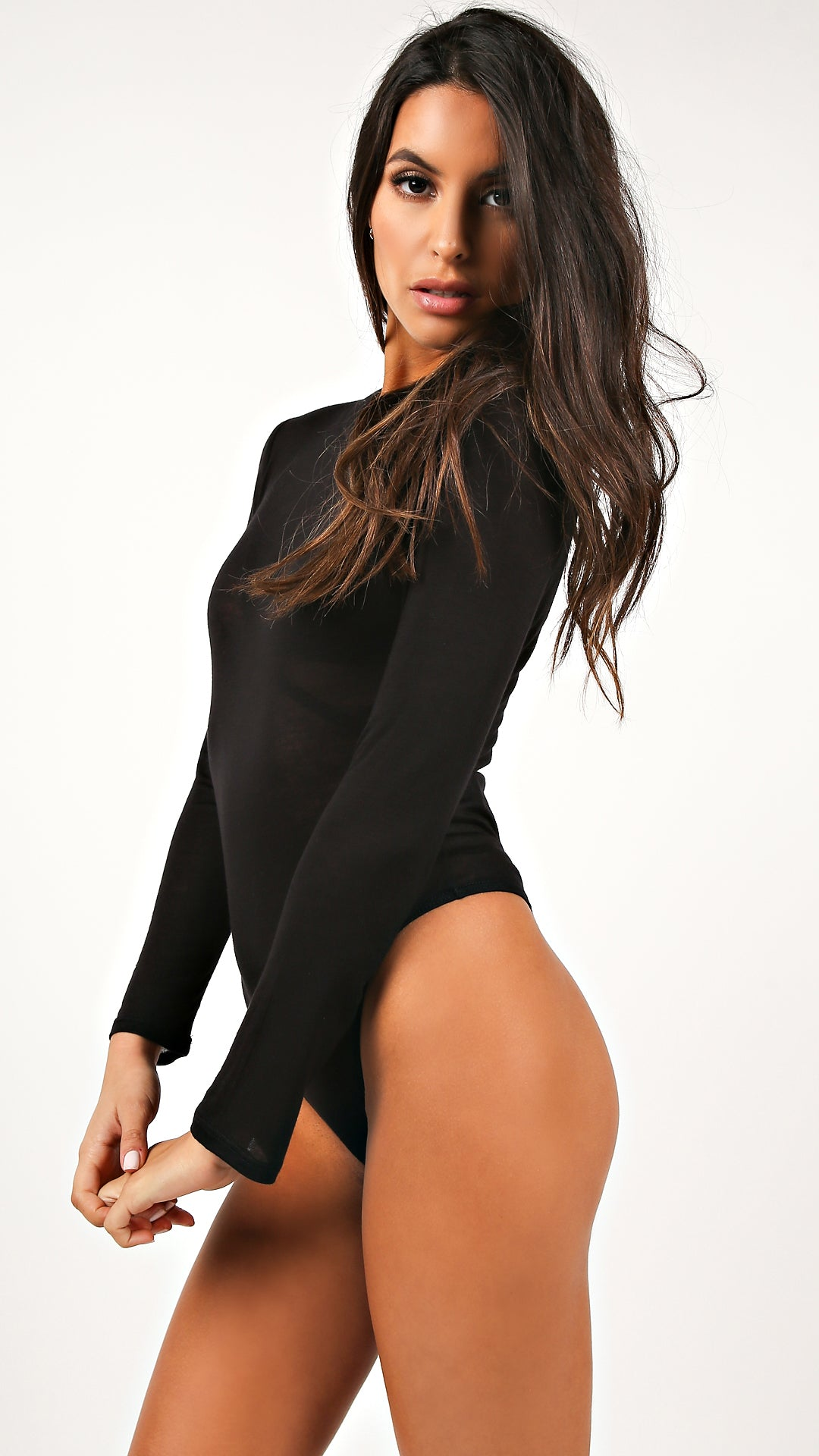 5ee8d522b2 Sheer Jersey Long Sleeve Bodysuit