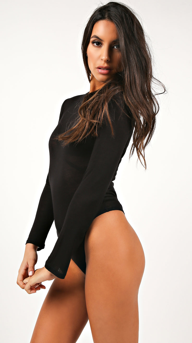 Sheer Jersey Long Sleeve Bodysuit