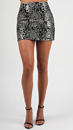 Floral Embellished Mini Skirt... - ANGL