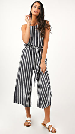 Bailey Striped Halter Jumpsuit - Msky