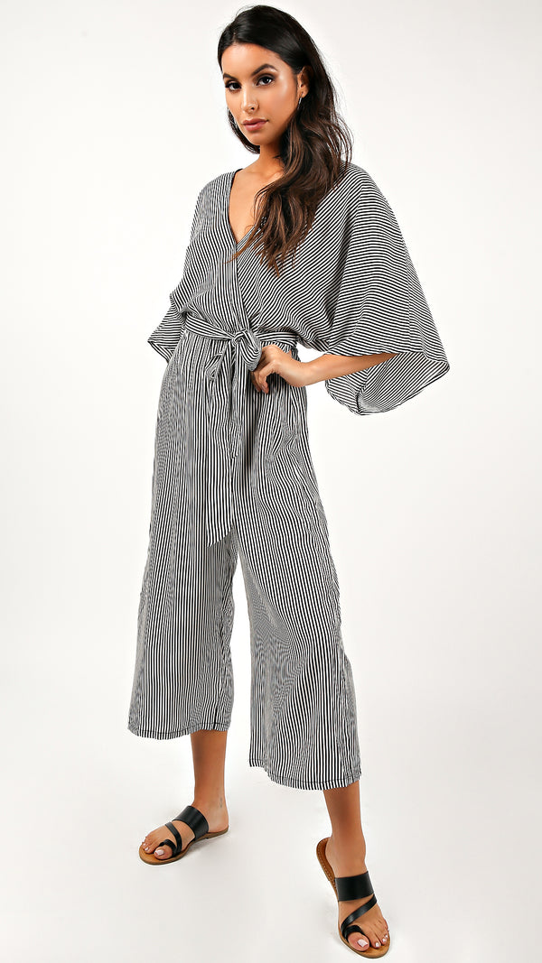Mia Front Tie Striped Jumpsuit